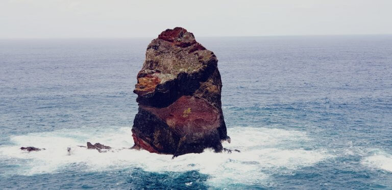 A cliff pointing like a fingure in eastern Madeira