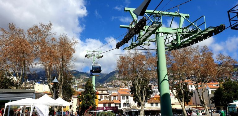 Getting to Monte with the cable car built by the austrian company Doppelmaier