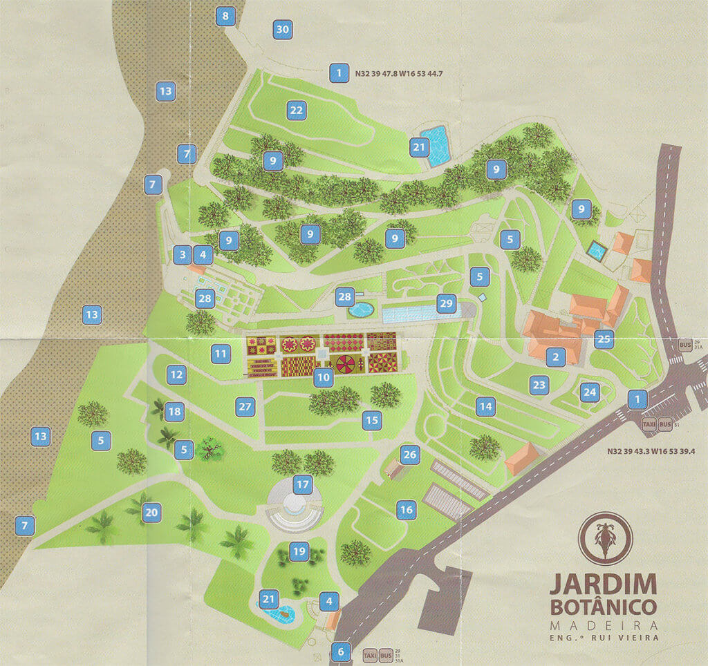 The map of the botanical garden in Madeira funchal
