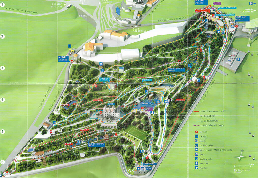 Detailed Map of the tropical Garden in Funchal